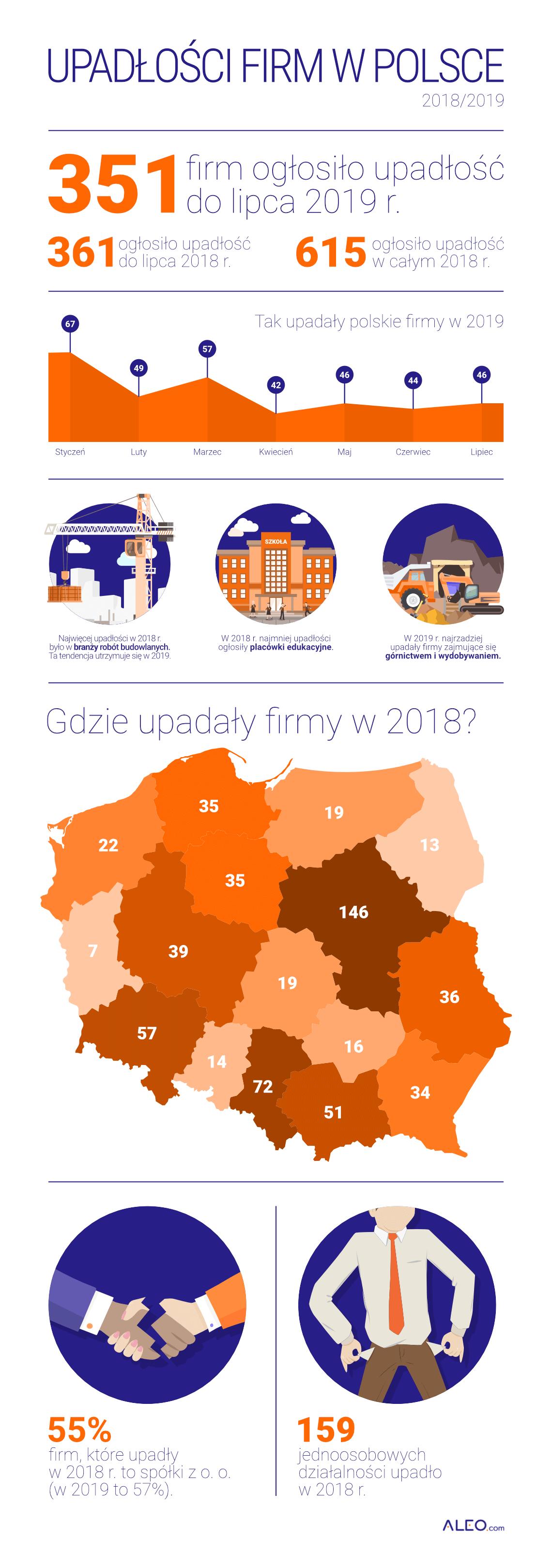 Grafika przedstawiająca dane dotyczące upadłości firm w 2018 i 2019 roku
